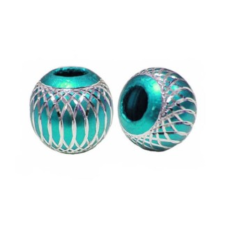 10 Perles Rondes 14mm Turquoise