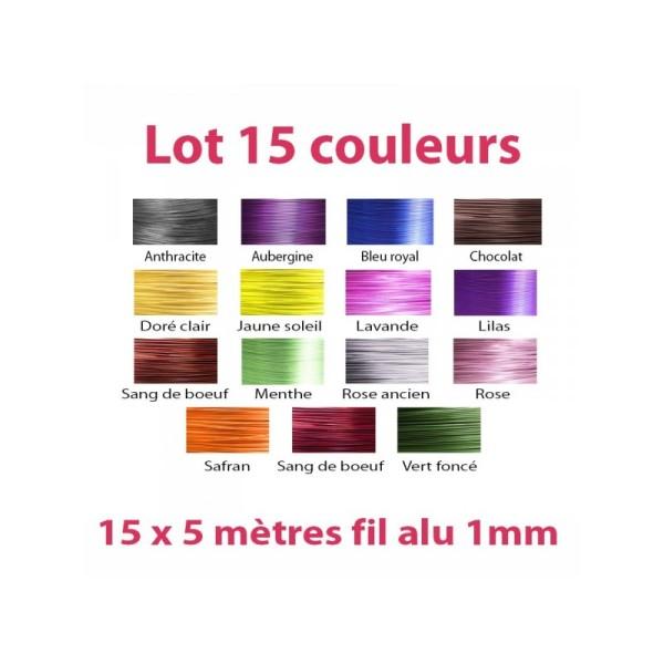 Lot 15 couleurs x 5 mètres de fil aluminium 1mm - Photo n°1