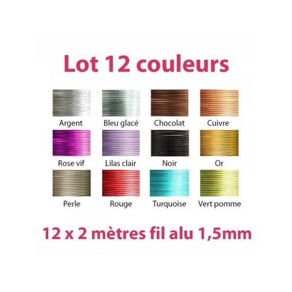 Lot 12 couleurs x 2 mètres de fil aluminium 1,5mm - Photo n°1