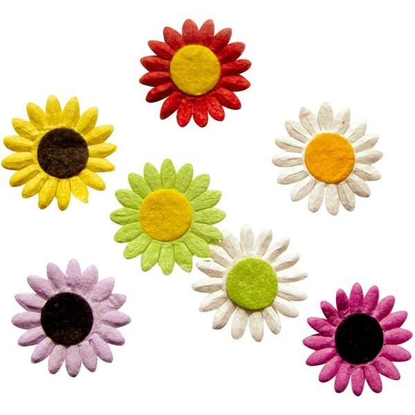 Fleur en papier Marguerite assorties- 35 pcs - Photo n°1