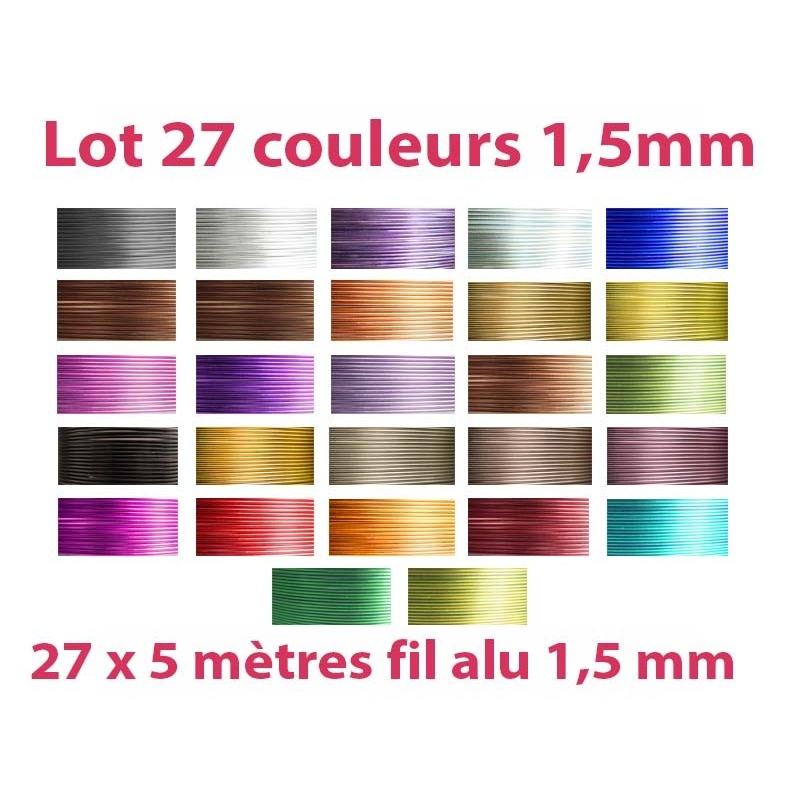 Lot 27 couleurs x 5 m tres de fil aluminium 1 5mm fil - Meilleur couleur pour cuisine ...