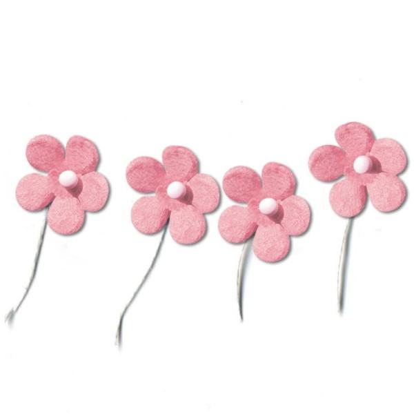 Fleur en papier avec tige rose pâle x 50 - Photo n°1