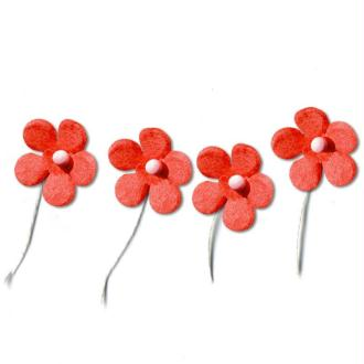 Fleur en papier avec tige rouge x 50