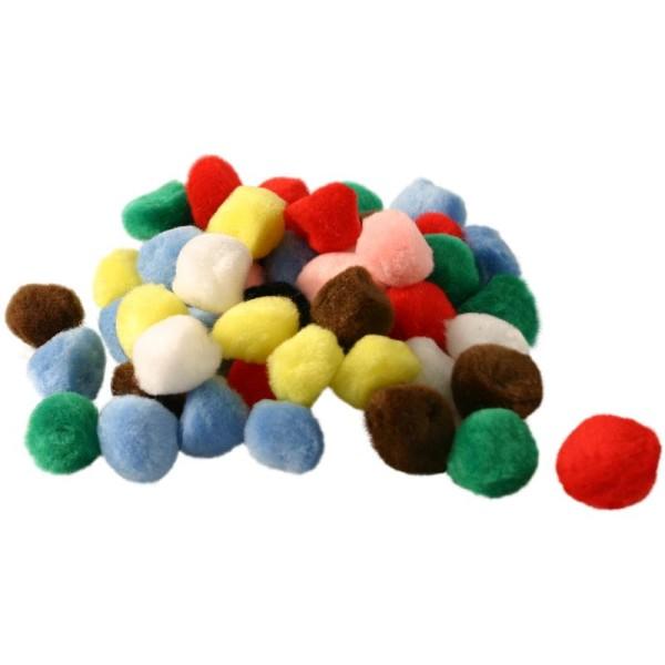 Pompons couleurs assorties 7 mm x 100 - Photo n°1