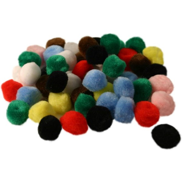 Pompons couleurs assorties 10 mm x 65 - Photo n°1