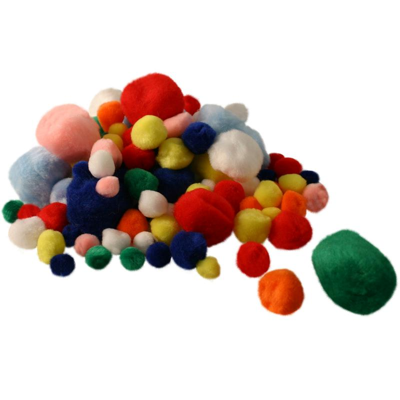 Pompons couleurs et dimensions assorties x 100 - Photo n°1