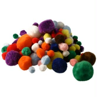 Pompons couleurs et dimensions assorties x 300