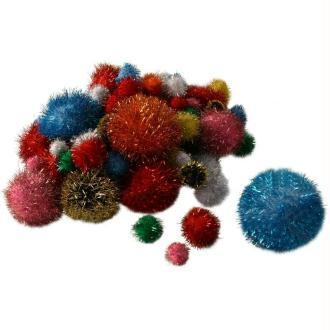 Pompons scintillants couleurs et dimensions assorties x 100