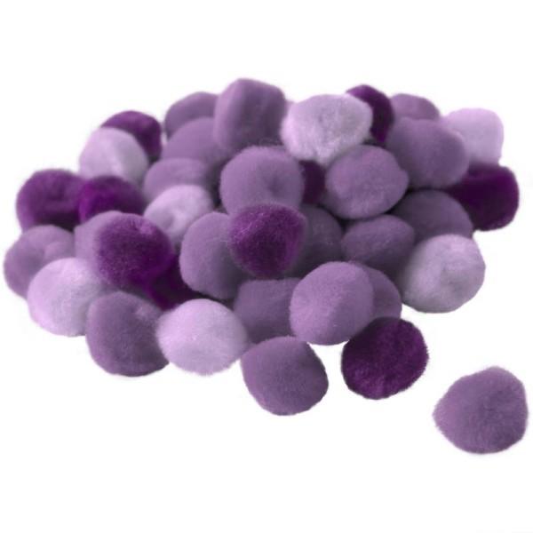 Pompons 15 mm dégradé violet x 45 - Photo n°1