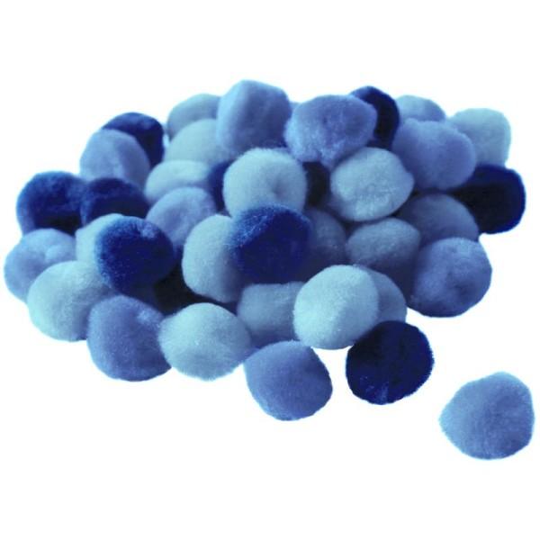 Pompons 15 mm dégradé bleu x 45 - Photo n°1