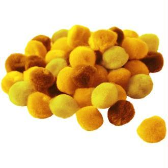 Pompons 15 mm dégradé jaune x 45
