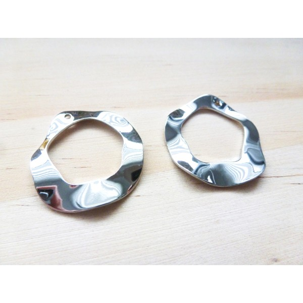 2 Breloques anneau irrégulier - 25*23mm - argent platine - Photo n°1