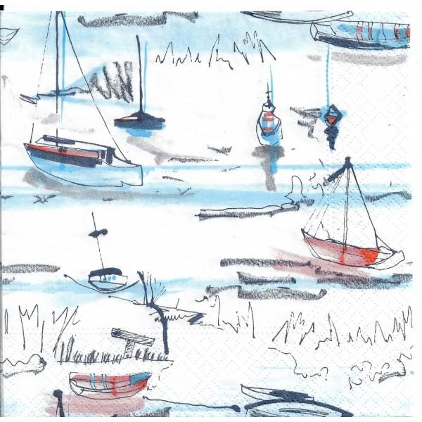 4 Serviettes en papier Port Mer Bateau Format Lunch PT-84774 Papstar Decoupage Decopatch - Photo n°2