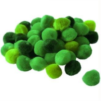 Pompons 15 mm dégradé vert x 45