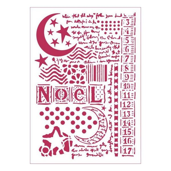 Pochoir plastique souple réutilisable 21 x 29,7 cm STAMPERIA NOEL 434 - Photo n°1