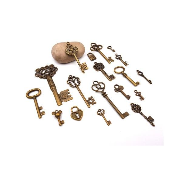 18 Breloques Clés Clefs 18 Modèles Couleur Bronze - Photo n°1
