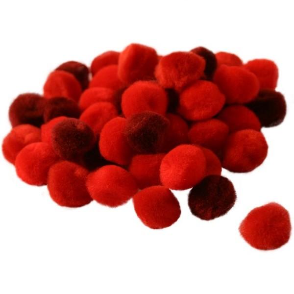 Pompons 15 mm dégradé rouge x 45 - Photo n°1