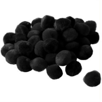 Pompons 15 mm noir x 45