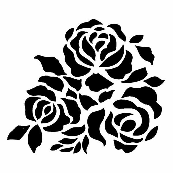 POCHOIR PLASTIQUE 13*13cm : roses (01) - Photo n°1