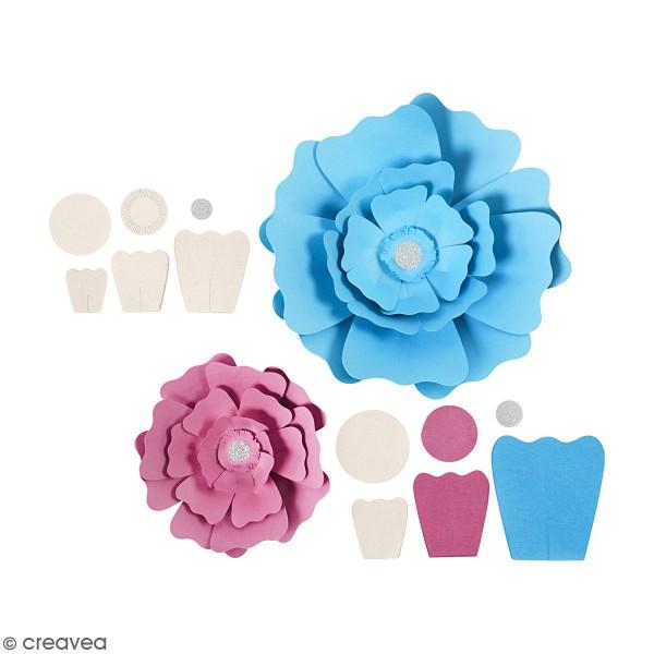 Fleurs en papier à assembler - Différents coloris - 15 et 25 cm - 2 pcs - Photo n°1