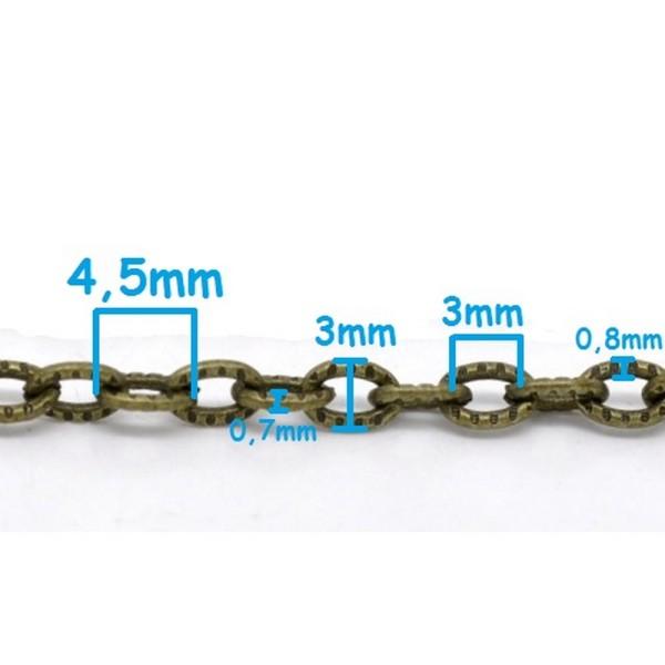 1m Chaine maille Forçat chainette bronze 4,5mm x 3mm petit maillon