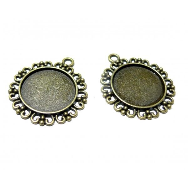 150509112953 Lot de 10 supports de pendentifs ARTY Rond 20mm metal couleur Bronze - Photo n°1