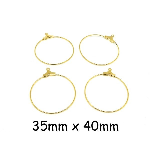 6 Supports Boucles D'oreilles Créoles 35mm En Métal Doré - Photo n°1