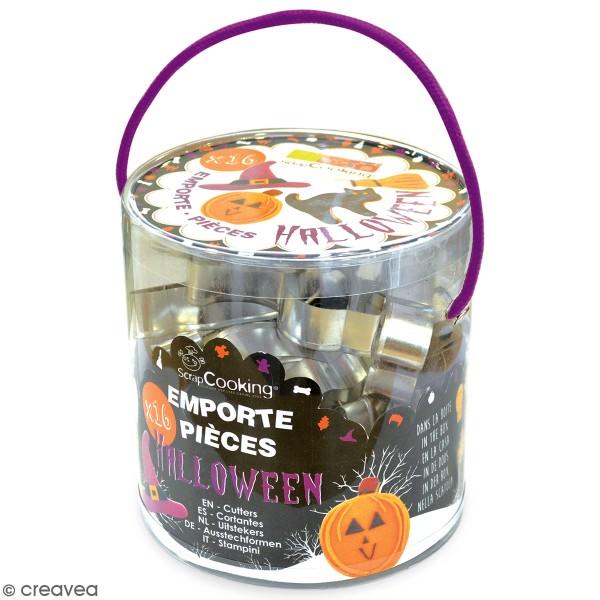 Seau d'emporte-pièces en acier Halloween - 16 pcs - Photo n°1