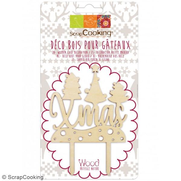 Décoration Cake Topper en bois Noël - Xmas - 9 x 13 cm - Photo n°3