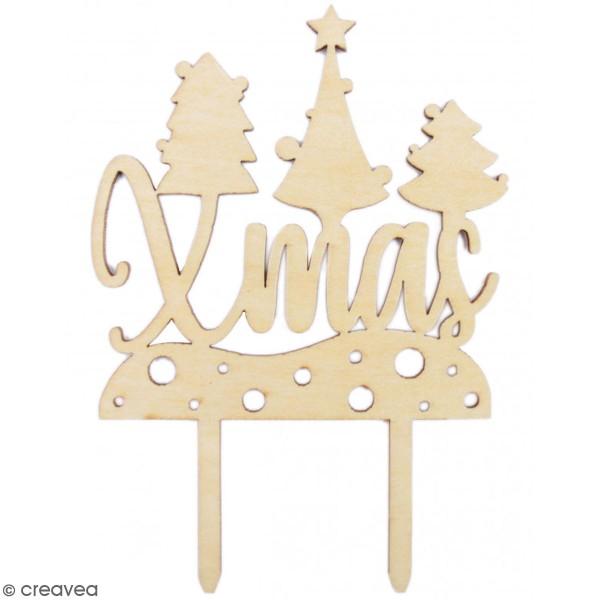Décoration Cake Topper en bois Noël - Xmas - 9 x 13 cm - Photo n°1