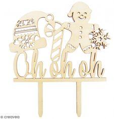 Décoration Cake Topper en bois Noël - Ohohoh - 9 x 13 cm