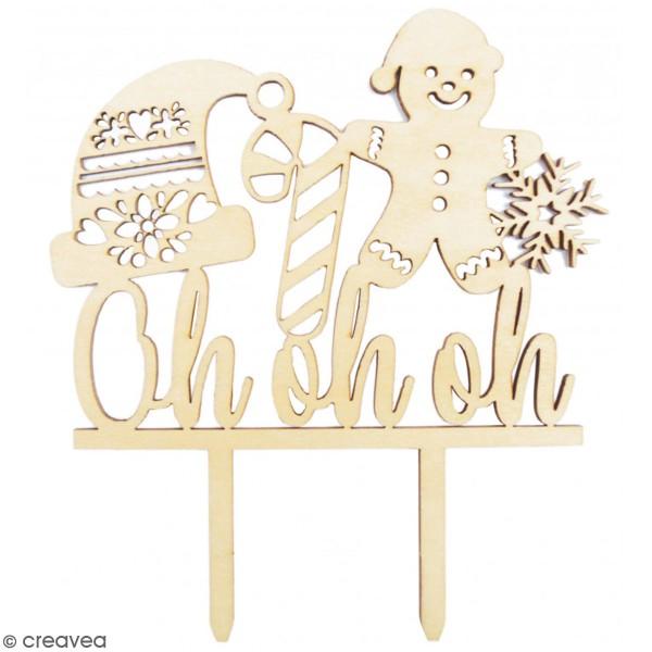 Décoration Cake Topper en bois Noël - Ohohoh - 9 x 13 cm - Photo n°1