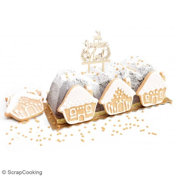Décoration Cake Topper en bois Noël - Joyeux Noël - 9 x 13 cm - Photo n°2