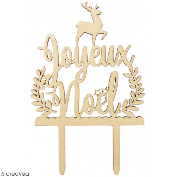 Décoration Cake Topper en bois Noël - Joyeux Noël - 9 x 13 cm - Photo n°1
