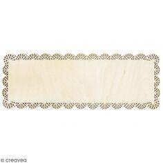 Plat à gâteau rectangulaire en bois - Dentelle - 36 x 13 cm
