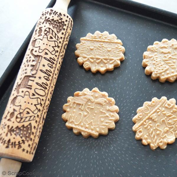 Rouleau en bois à empreintes Gingerman - 39 cm - Photo n°2
