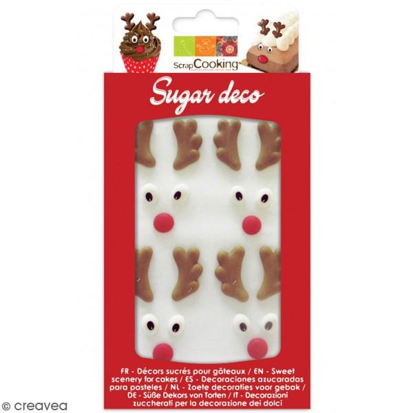Décoration sucre pour gâteaux - Têtes de rennes - 6 pcs - Photo n°1