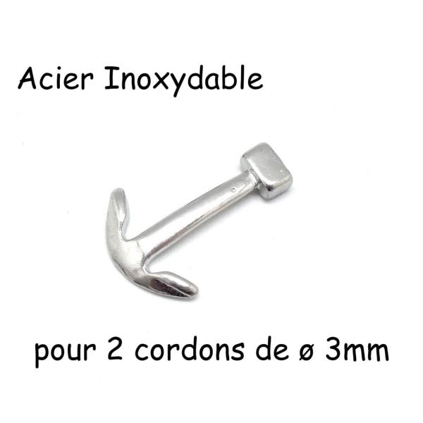 Fermoir Ancre Marine Argente En Acier Inoxydable Pour Cordon Cuir De 3mm - Photo n°1