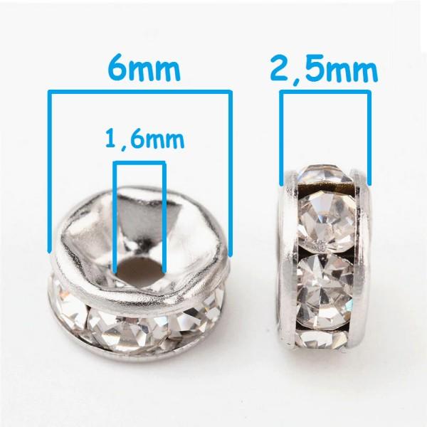 20 Perles Rondelle Strass Argenté 6mm Creation Bijoux, Collier, Bracelet - Photo n°2