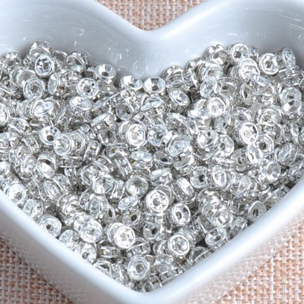 20 Perles Rondelle Strass Argenté 6mm Creation Bijoux, Collier, Bracelet - Photo n°3