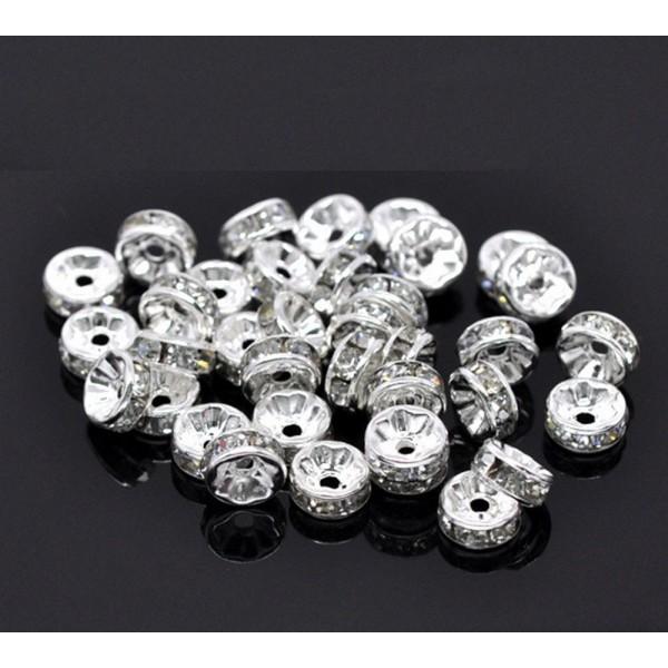 20 Perles Rondelle Strass Argenté 6mm Creation Bijoux, Collier, Bracelet - Photo n°4
