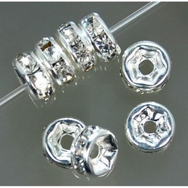 20 Perles Rondelle Strass Argenté 6mm Creation Bijoux, Collier, Bracelet - Photo n°5
