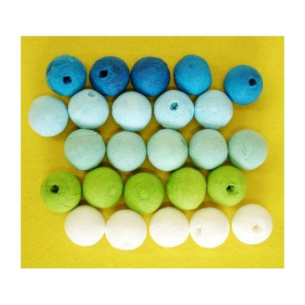 25pcs Bleu Vert Mix Tour de Filé de Coton tchèque Perles en pâte FIMO Forme Vide Décor à la Maison d - Photo n°2