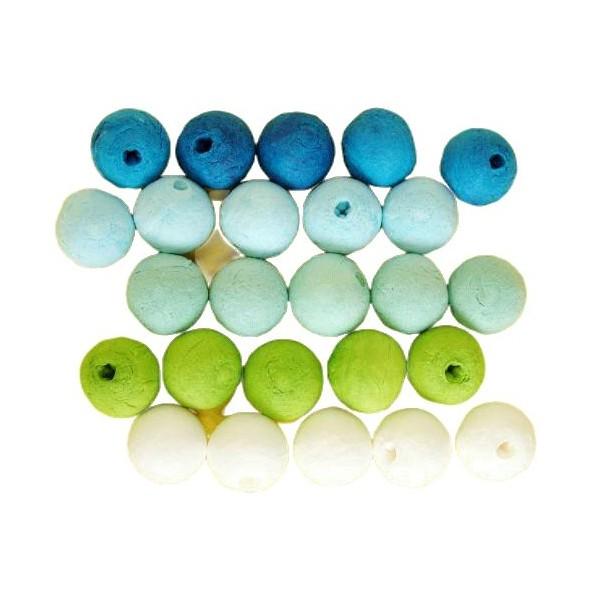 25pcs Bleu Vert Mix Tour de Filé de Coton tchèque Perles en pâte FIMO Forme Vide Décor à la Maison d - Photo n°1