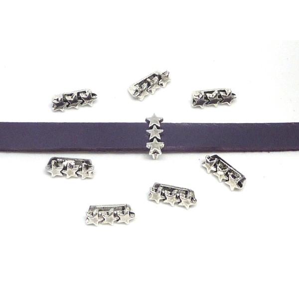 20 Perles Passant 3 Étoiles En Métal Argenté Slide Étoile Pour Lanière De 6mm X 2mm - Photo n°2