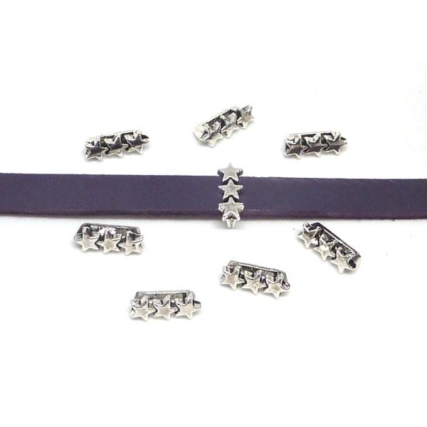 20 Perles Passant 3 Étoiles En Métal Argenté Slide Étoile Pour Lanière De 6mm X 2mm - Photo n°3