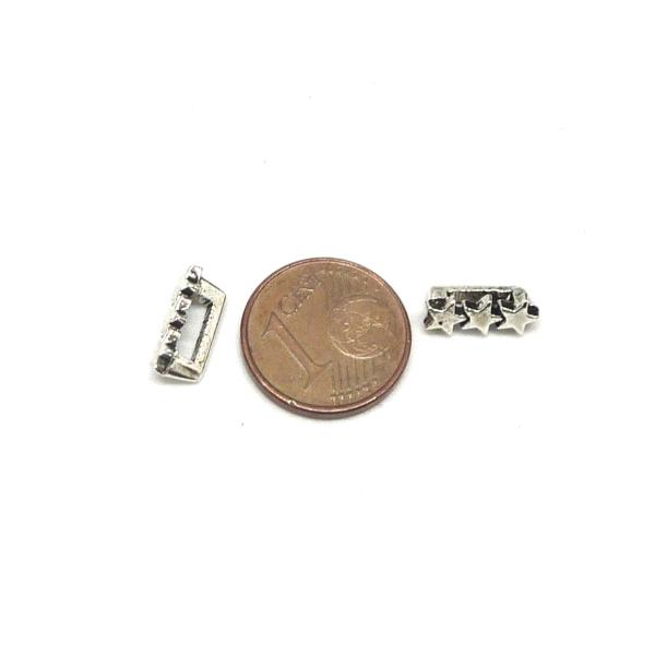 20 Perles Passant 3 Étoiles En Métal Argenté Slide Étoile Pour Lanière De 6mm X 2mm - Photo n°4