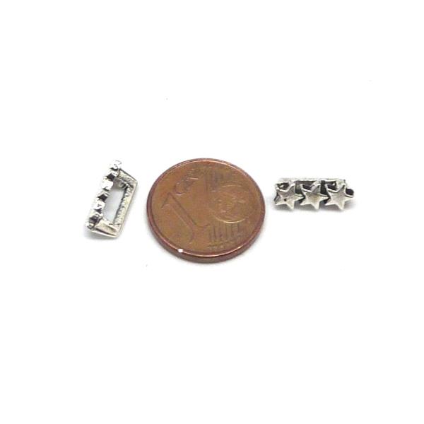 20 Perles Passant 3 Étoiles En Métal Argenté Slide Étoile Pour Lanière De 6mm X 2mm - Photo n°5