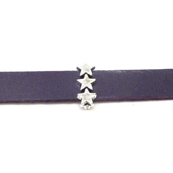20 Perles Passant 3 Étoiles En Métal Argenté Slide Étoile Pour Lanière De 6mm X 2mm - Photo n°1
