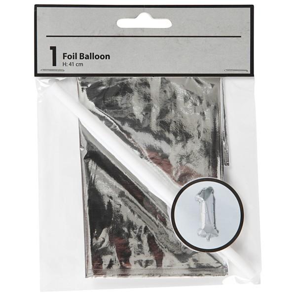 Ballon argenté en aluminium - Chiffre de 41 cm - Photo n°2